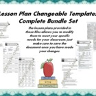 Lesson Plan Changeable Templates - Complete Set
