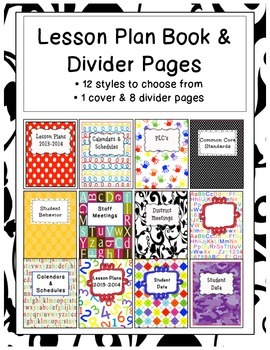 Lesson Plan Cover and Divider Pages