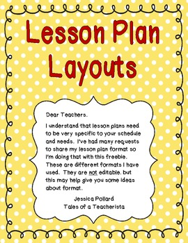 Lesson Plan Layouts {Freebie}