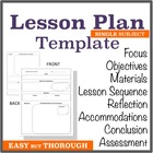 Template for Easy Thorough Lesson Planning - Single Subject