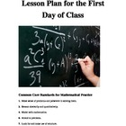Lesson Plan and Activties for the First Day of Math Class