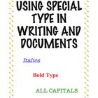 Lesson: Using Special Type (Bold, Italics, All Caps) in Documents