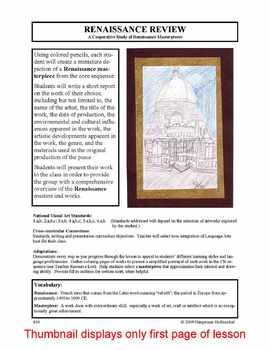 Lesson plan.  A Cooperative Study of Renaissance Masterpieces