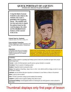 "Lesson plan.  Portrait of a Queen:  ""The Bust of Queen Nefertiti"""