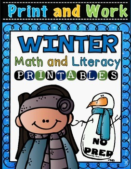 Winter Math and Literacy Printables Worksheets (65) pages of activites