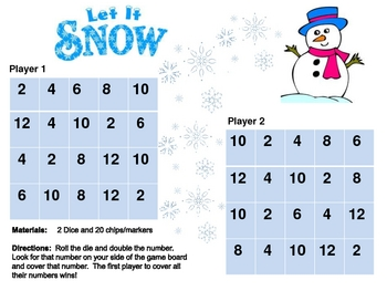 Let it Snow Math Addition Doubles