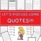 Let's Discuss Using Quotes! Robert Louis Stevenson 14 Task