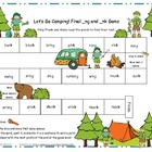 Let&#039;s Go Camping! Final _ng and _nk Literacy Station Word 