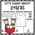 Let's Learn About Zebras Web Quest Activity Informational Text