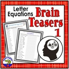 Letter Equations Brain Teaser Sheet - Fun Brain Break