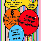 Letter Recognition Practice - 8 Mystery Pictures to Color