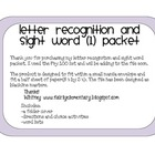Letter Recognition and Sight Word packets