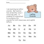 Letter Sound/Formation Parent note