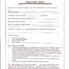 Letter of Recommendation Preparation Sheet