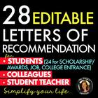 Letters of Recommendation Scholarships College Award Teaching