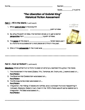 Liberation of Gabriel King/Historical Fiction Assessment