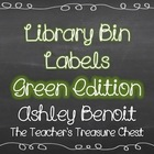Library Book Bin Labels: Chalkboard and Green