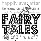 Library Subway Art for Fairy Tales - Black & White