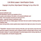 Life Skills Activity: Identification Cards