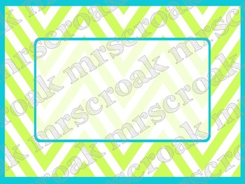Lime Green and Turquoise Chevron Printable Labels
