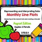 Line Plot Math Center Task Cards August: Measure & Interpr