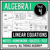 Linear Equations - Notes, Homework, Quizzes, and Test Bundle!