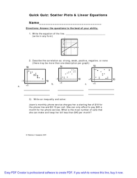 Linear Equations Quick Quiz Pack