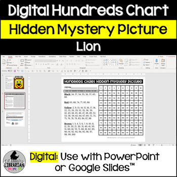 Lion Hundreds Chart Hidden Picture Activity for Math or Zoo Theme