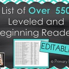 List of Leveled Books for Early and Beginning Readers