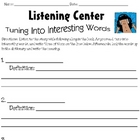 Listening Center Vocabulary Response Sheet