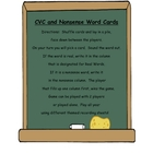 Literacy Center CVC and Nonsense Word Cards