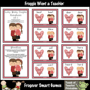 Literacy Center -- Lovey  Dovey Couples (homophones)