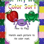Literacy Center Preschool Toddler Color My World Color Sort