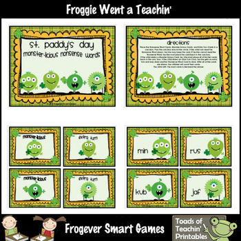 Literacy Center -- St. Paddy's Day Monster-licious Nonsense Words