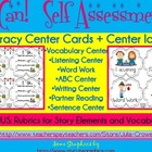 Literacy Center Task Cards and Icons (Common Core Self Ass