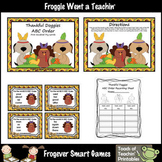Literacy Center -- Thankful Doggies ABC Order (4 words/fir