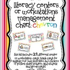 Literacy Centers or Workstations Management Chart: Chevron