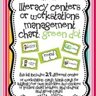 Literacy Centers or Workstations Management Chart: Green Dot