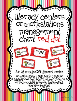 Literacy Centers or Workstations Management Chart: Red Dot