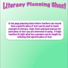 Literacy Planning Sheet: An Organizational Tool