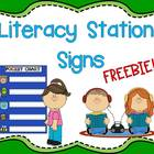 Freebie!  Literacy Station Signs {For Pre-K and Kindergarten}