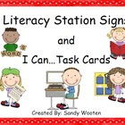Literacy Station Signs, Pocket Chart Cards, and 138 I Can.
