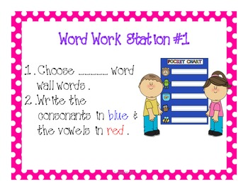 Literacy Work Station Signs