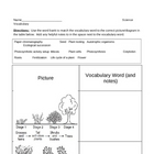 Literacy in Science Worksheet - Plants - Vocabulary