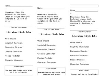 Literature Circle Jobs Bookmark