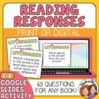 Literature Response QUESTION Cards for Any Book! 64 Cards!