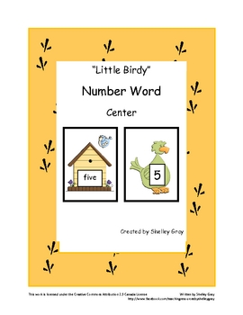 """Little Birdy"" Numeral - Number Word Matching Center"