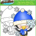 Little Gertie Loves Snow Clip Art with Line Art Single Image