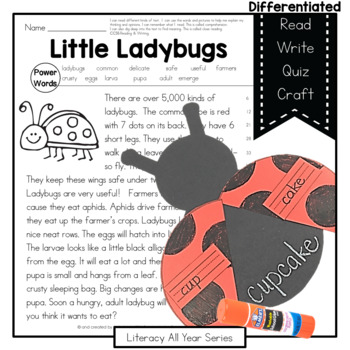 Little Ladybugs { Informational Reading, Writing, Compound
