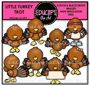 Little Turkey Trot Clip Art Bundle
